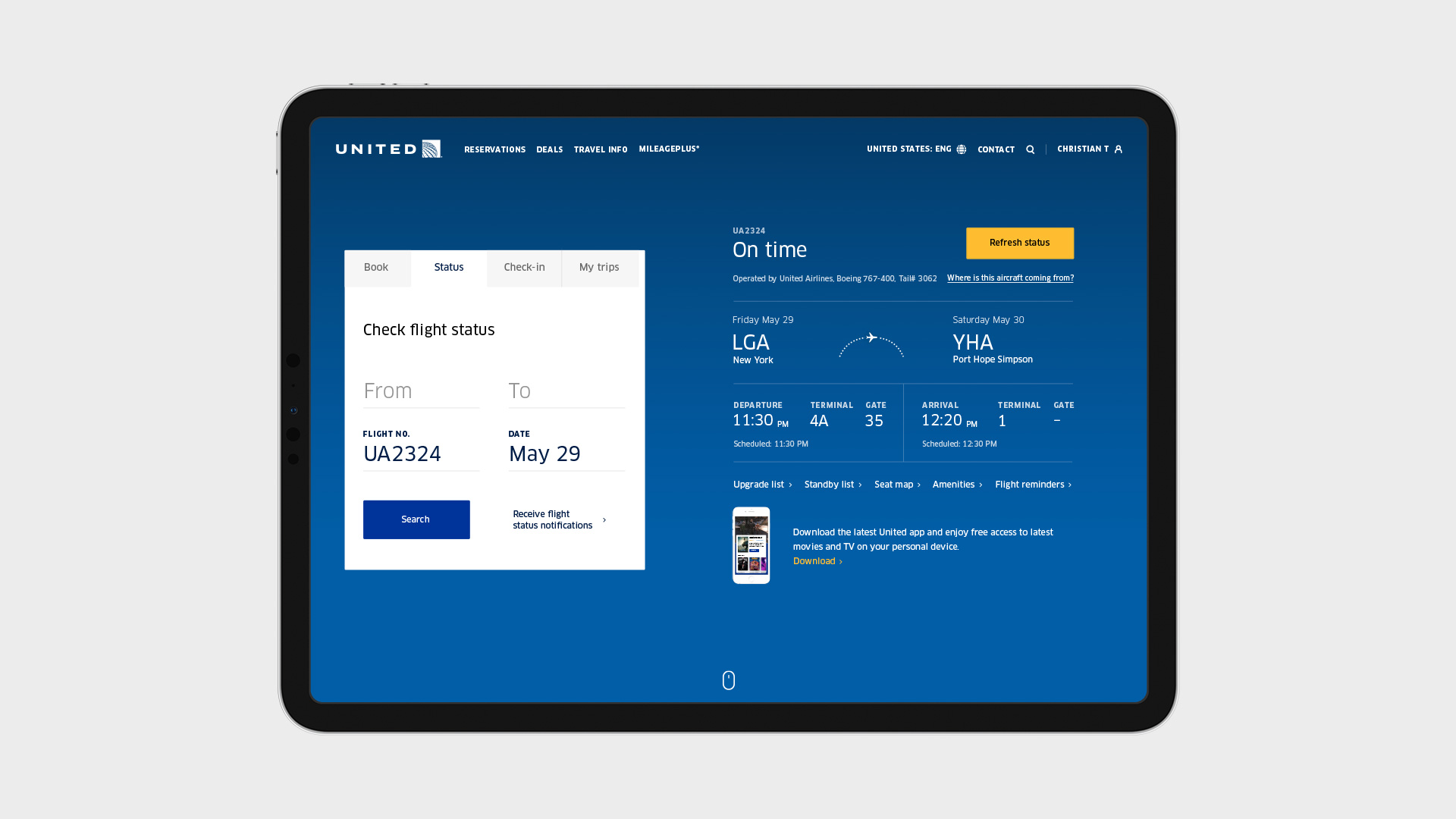 Toby Magrath › United Airlines